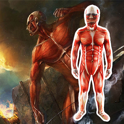 Attack On Titan Colossal Zentai Suits Cosplay Kostym Karneval