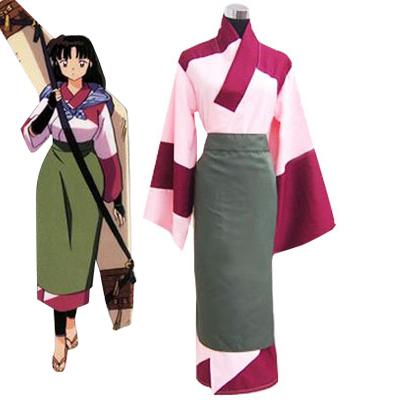 Inuyasha Sango Kimono Cosplay Kostyme Karneval
