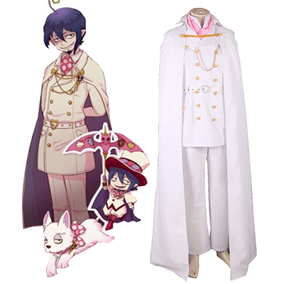 Blue Exorcist Mephisto Pheles White Uniform Cosplay Kostyme Karneval