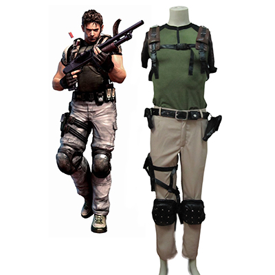 Resident Evil 5 Jogos Chris Redfield Cosplay Men's Traje Carnaval