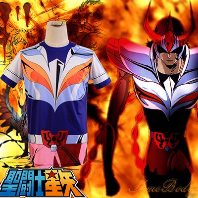Saint Seiya Bronze Saint Ikki Phoenix Cloth Summer T-shirt Cosplay Costume