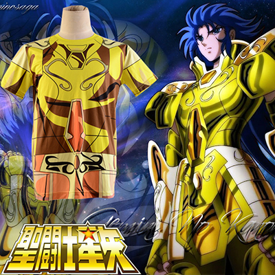 Saint Seiya Gold Saint Saga Gemini Golden Cloth Zomer T-shirt Cosplay Kostuum Carnaval Halloween