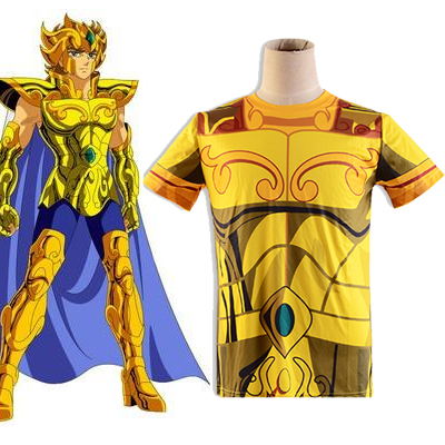 Saint Seiya Gold Saint Aiolia Leo Golden Cloth Summer T-shirt Anime Cosplay Costume