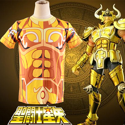 Saint Seiya Gold Saint Aldebaran Taurus Golden Cloth Summer T-shirt Cosplay Kostume Fastelavn