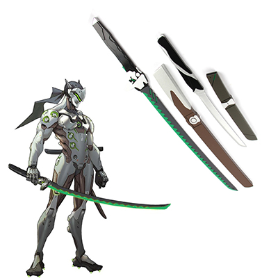 Overwatch OW Gaku Space Genji Length and Short Madera Espadas Cosplay Armas Carnaval