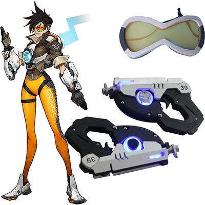 Overwatch OW Tracer Prop Glasses and Pistols Accessories