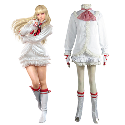 Tekken 6 Lili White Lolita Dress Game Cosplay Kostume Fastelavn