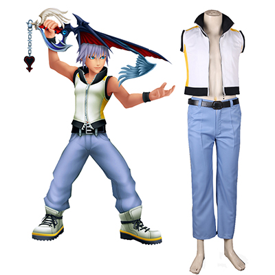 Kingdom Hearts 3D: Dream Drop Distance Riku Uniforme Jeu Cosplay Costume Carnaval