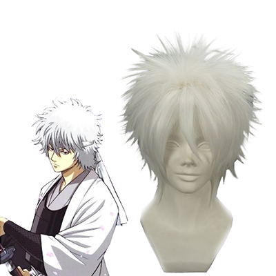 Gintama Silver Soul White Demon's Birth Sakata Gintoki White Cosplay Peruk Karneval