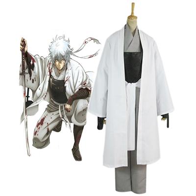 Gintama Silver Soul White Demon's Birth Sakata Gintoki Kimono Cosplay Kostumer Fastelavn