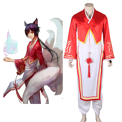 League of Legends The Nine-Tailed Fox Ahri Boy Hanfu Spel Cosplay Kostuum Carnaval