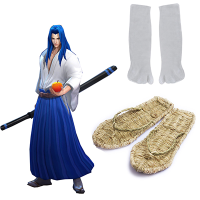 King of glory LOL SNK Samurai Spirits Ukyo Tachibana Trä Straw sandals and Two-tips Soks Spel Cosplay Rekvisita Karneval