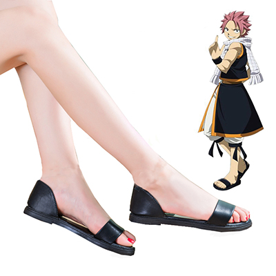 Fairy Tail Dragon Slayers Natsu Dragneel Female Preto Sandals Cosplay Sapatos Carnaval