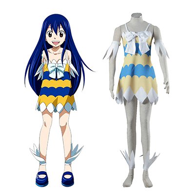 Fairy Tail Dragon Slayers Wendy Marvell Girl Kjole Cosplay Kostyme Karneval