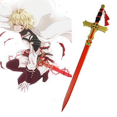 Seraph of the End Mikaela Hyakuya Red/Blanc En bois Épée Cosplay Armes Carnaval