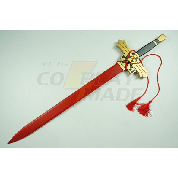 Seraph of the End Mikaela Hyakuya Red/White Træ Sværd Anime Cosplay Weapon Fastelavn