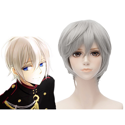 Seraph of the End Shinya Hiragi 30cm Gray Perruque Cosplay Carnaval