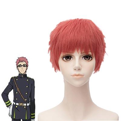 Seraph of the End Shiho Kimizuki 28cm Red Cosplay Peruukki Naamiaisasut