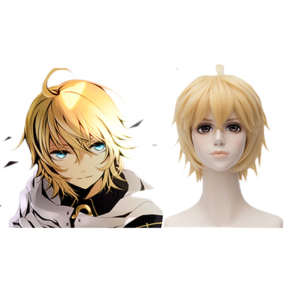 Seraph of the End Vampires Mikaela Hyakuya Golden 30cm Anime Cosplay Parrucca Carnevale