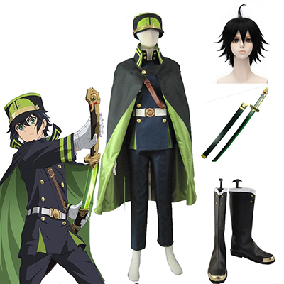 Seraph of the End The Moon Demon Company Yuichiro Hyakuya Univormu Cosplay asut Naamiaisasut