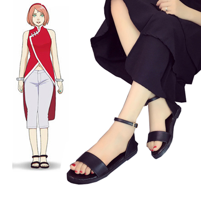 Boruto: Naruto Next Generations Haruno Sakura Black Saldal Anime Cosplay Shoes