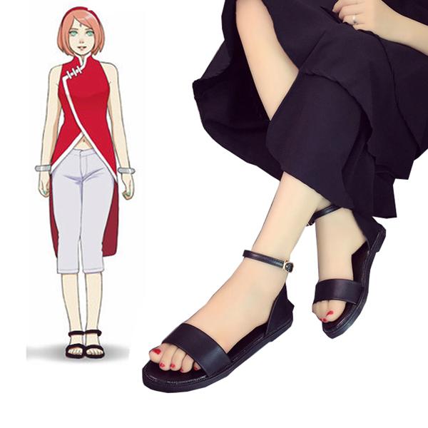 Boruto: Naruto Next Generations Haruno Sakura Black Saldal Cosplay Cipő Karnevál
