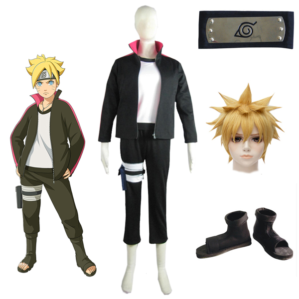 Boruto: Naruto Next Generations Uzumaki Boruto Sweater Cosoplay Costume Wigs Shoes