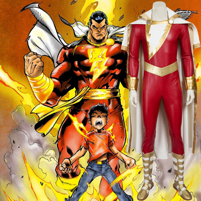 Costumi Carnevale Captain Marvel Shazam Cosplay Halloween Italia