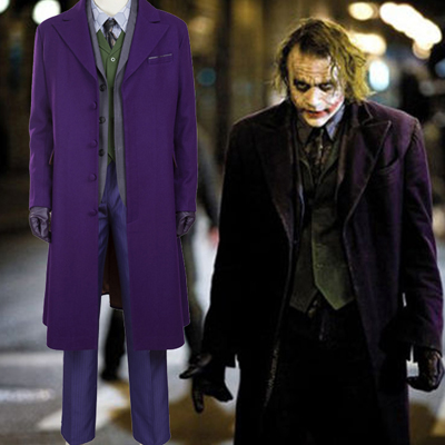Trajes Batman The Dark Knight:The Joker Cosplay Halloween Traje Brasil (Woolen Coat)
