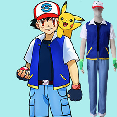Pocket Monster/Pokémon Ash Ketchum Cosplay Halloween Costume