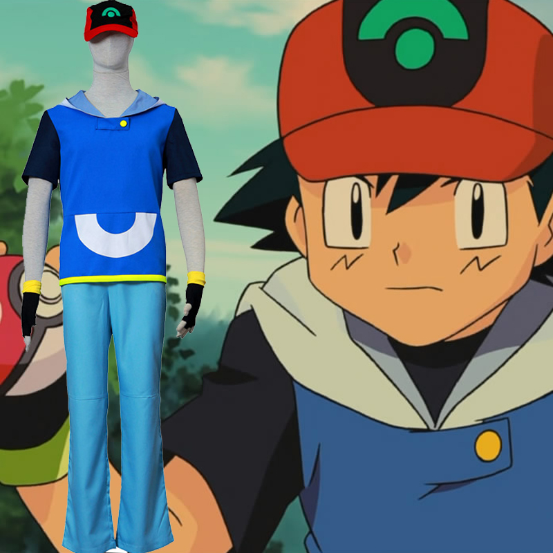 Trajes Pocket Monster/Pokémon Ash Ketchum 4 Cosplay Traje Brasil