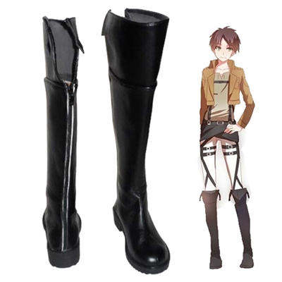 Attack on Titan Eren Yeager Schwarz Faschings Stiefel Cosplay Schuhe
