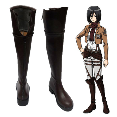 Zapatos Attack on Titan Mikasa·Ackerman Marrón Cosplay Botas
