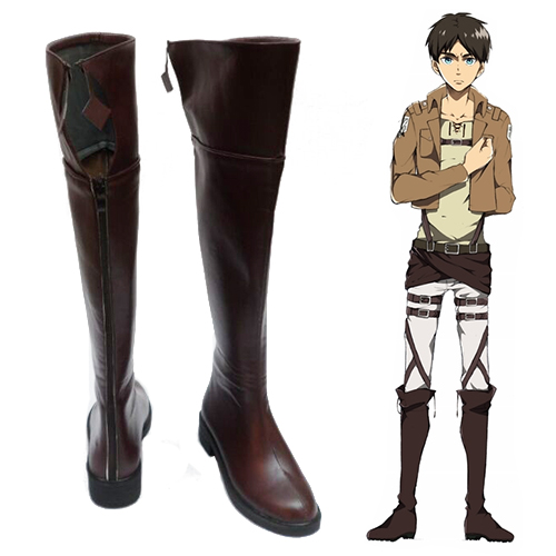 Attack on Titan Eren Yeager Brown Cosplay Shoes
