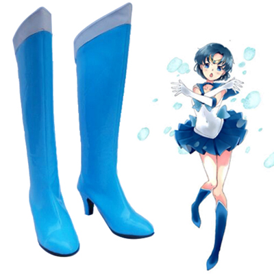 Sailor Moon Mercury Blue Cosplay Sko Karneval Støvler