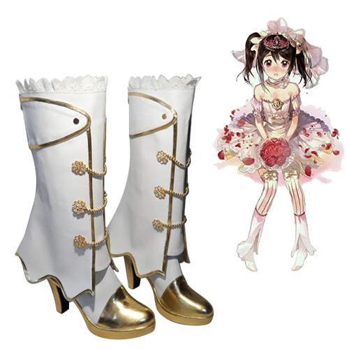 Love Live! Yazawa Nico Wedding Dress Awakening Bride Sapatos Carnaval