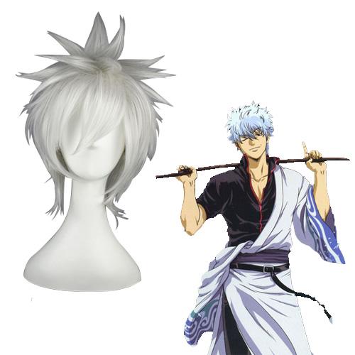 Gintama Sakata Gintoki Weiß Cosplay Perücken