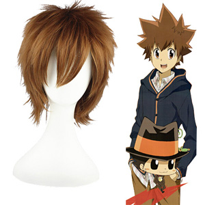 HITMAN REBORN Sawada Tsunayoshi maroon 30cm Cosplay Parókák