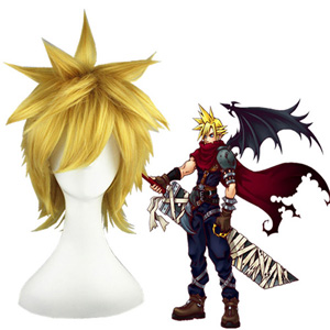 Kingdom Hearts Cloud Strife Oranžna 30cm Cosplay Perika