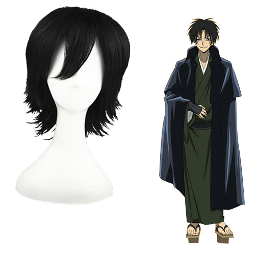 Sun slippery Ghost Ryuji flowers Institute Preto 32cm Perucas Cosplay