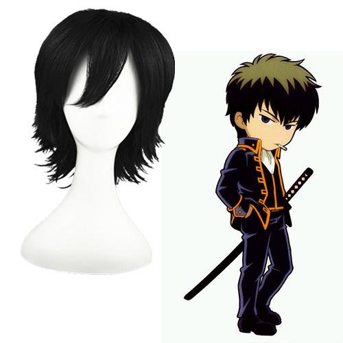Gintama Hijikata Toushirou Fekete 32cm Cosplay Parókák