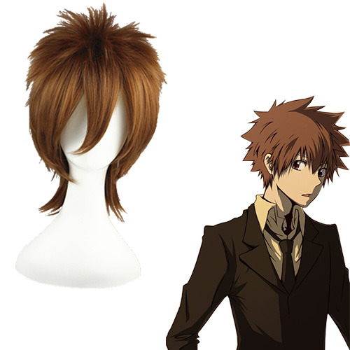 HITMAN REBORN Sawada Tsunayoshi Mixed Barna 35cm Cosplay Parókák