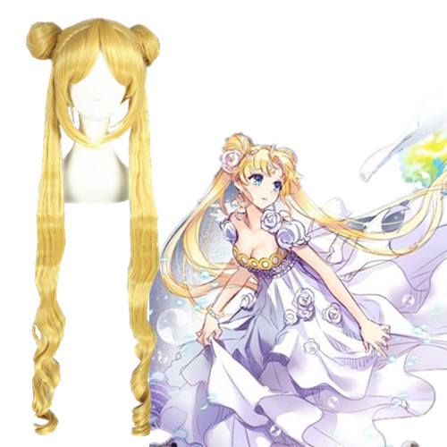 Sailor Moon Crystal Moon Princess Anime Version Geel 100cm Cosplay Pruiken