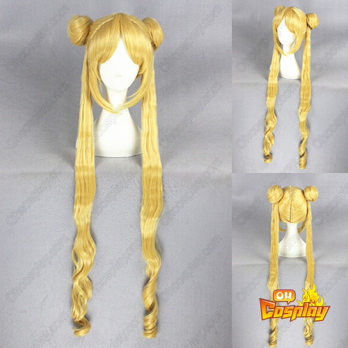 Sailor Moon Crystal Moon Princess Anime Version Amarelo 100cm Perucas Cosplay