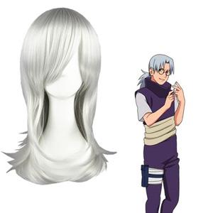 Naruto Yakushi Kabuto Srebrnkasto Bela Cosplay Perika