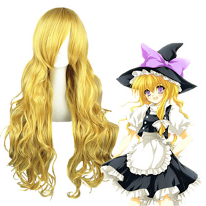 Touhou Project Kirisame Marisa Golden Cosplay Wigs