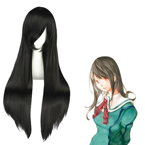 바쿠만 Miho Azuki 검은 코스프레 가발
