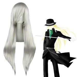 Case Closed Detective Conan Gin Silvery White Cosplay Wig