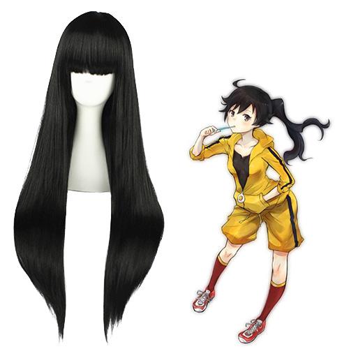Monogatari Karen Araragi 검은 코스프레 가발