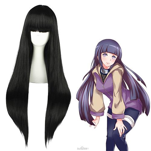 나루토 Hyūga Hinata 검은 코스프레 가발